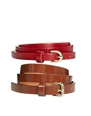 ASOS 2 Pack Skinny Waist Belts