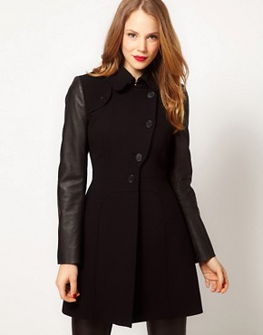 Image 1 ofKaren Millen Coat with Leather- Look Sleeves