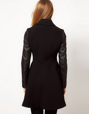 Image 2 ofKaren Millen Coat with Leather- Look Sleeves
