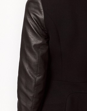 Image 3 ofKaren Millen Coat with Leather- Look Sleeves