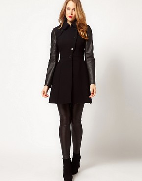 Image 4 ofKaren Millen Coat with Leather- Look Sleeves