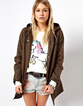Image 1 ofASOS Popper Front Waxed Finish Jacket
