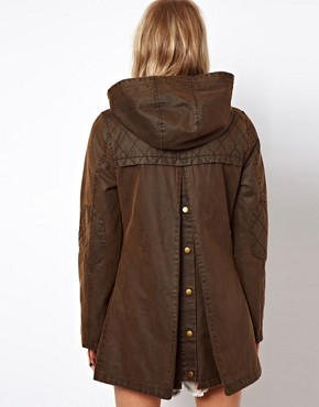 Image 2 ofASOS Popper Front Waxed Finish Jacket