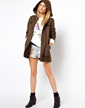 Image 4 ofASOS Popper Front Waxed Finish Jacket
