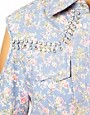 Image 3 ofDahlia Open Shoulder Floral Denim Shirt with Jewel Detailing