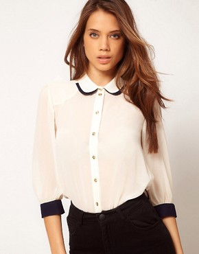 Image 1 ofASOS Blouse With Double Collar