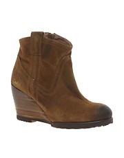 Bronx Suede Wedge Ankle Boots