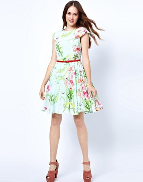 Image 4 ofTed Baker Dress with Full Skirt in Wallpaper Flower Print