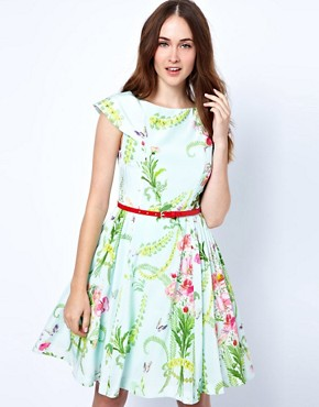 Image 1 ofTed Baker Dress with Full Skirt in Wallpaper Flower Print