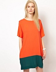 Chalayan Grey Line T-Shirt Dress in Colourblock
