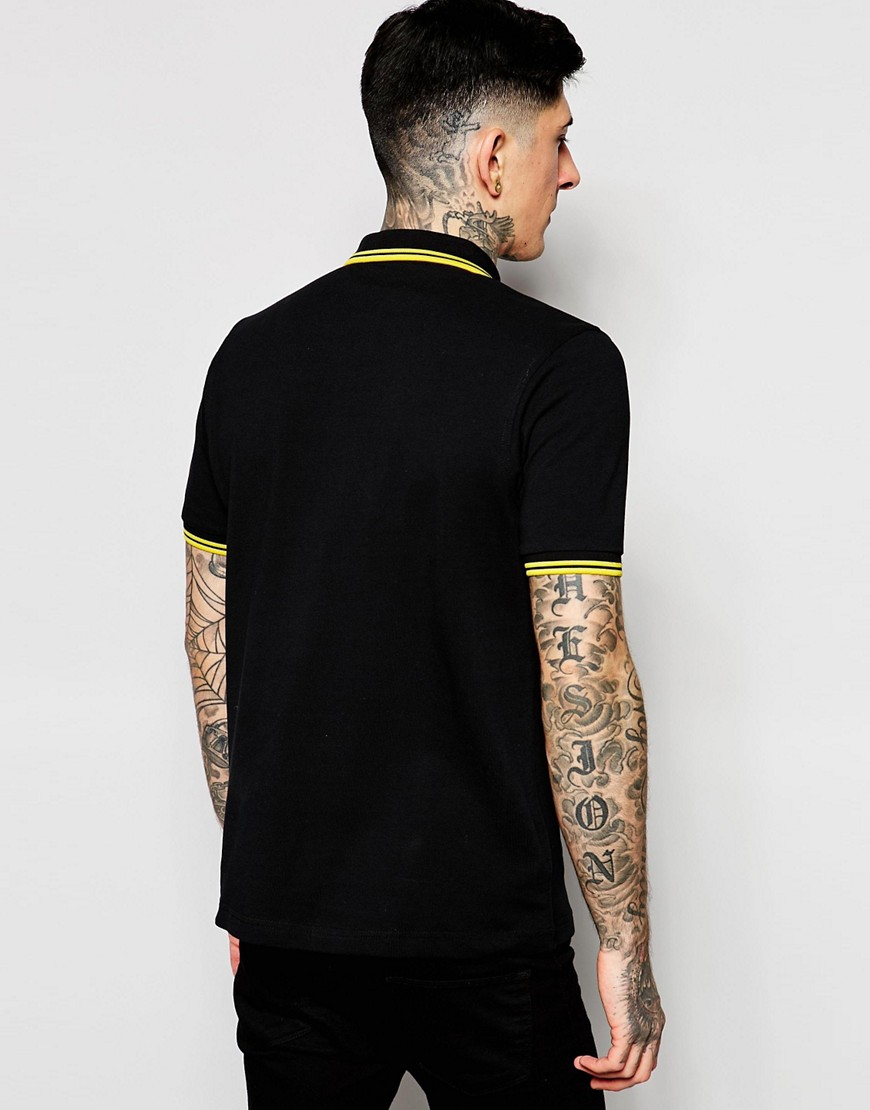 Image 2 of Fred Perry Slim Fit Polo with Twin Tipped in Black