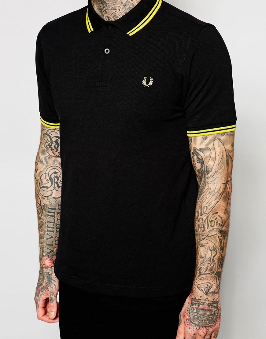 Image 3 of Fred Perry Slim Fit Polo with Twin Tipped in Black
