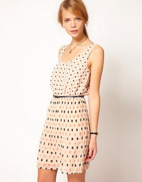 Image 1 ofOasis Spot Pleated Belted Dress