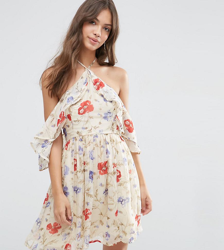 Платье мини с вырезами на плечах и винтажным принтом ASOS PETITE