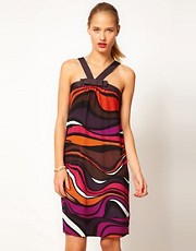 M Missoni Sleeveless Printed Dress With Bow Neck