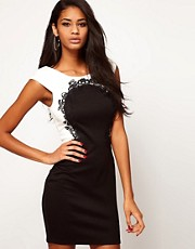 Lipsy Colour Block Dress with Lace Detail