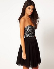 Club L Bandeau Skater Dress With Flocked Print