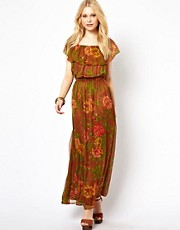 Traffic People Rambling Rose Silk Maxi Dress