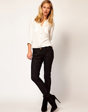 Image 1 ofCurrent/ Elliot Ankle Skinny In Black Brocade