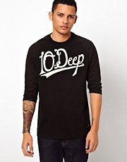 10 Deep Long Sleeve Top Leopard Baseball