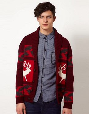 Image 1 ofCommon Sons Cardigan with Stag Print