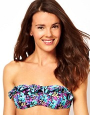 Playful Promises Exotic Parrot Print Frill Bandeau Bikini Top