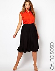 ASOS CURVE Midi Skirt With Pleats