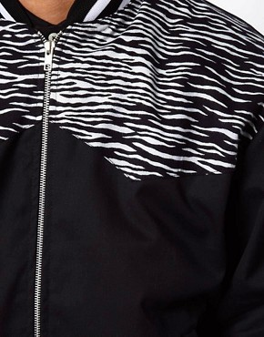 Image 4 ofReclaimed Vintage Bomber with Zebra Print Panel