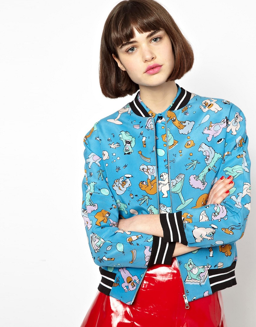 Image 1 of Antipodium Cry Baby Bomber Jacket in Bonded Silk