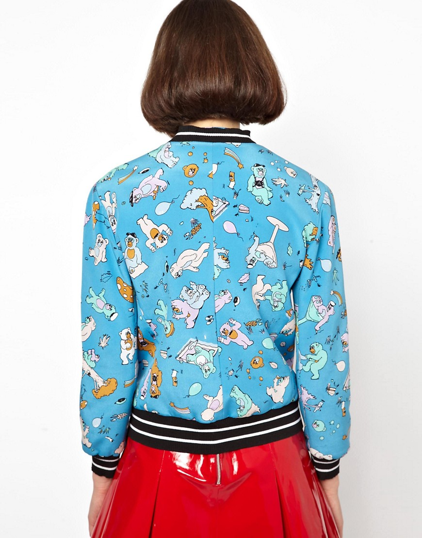 Image 2 of Antipodium Cry Baby Bomber Jacket in Bonded Silk