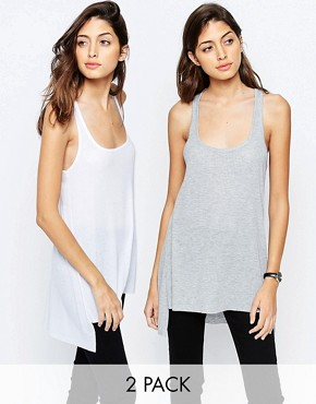 ASOS Vest With Step Back Hem In Rib 2 Pack Save 10%