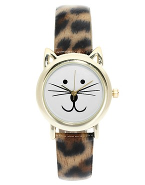 Image 1 ofASOS Leopard Cat Ears Watch