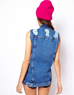 Image 2 of ASOS Longline Denim Gilet in Vintage Wash