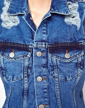 Image 3 of ASOS Longline Denim Gilet in Vintage Wash