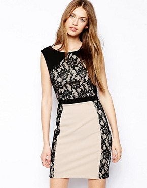 Chi Chi London Lace Detail Bodycon Dress
