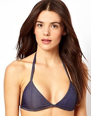 Top de bikini de tringulo con diseo de denim de ASOS