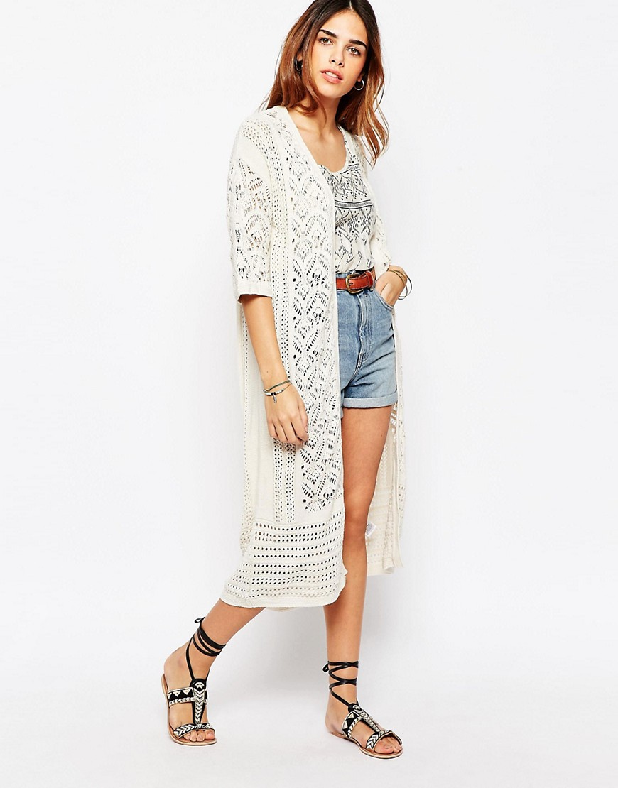 Warehouse Cream Longline Festival Cardigan - Oatmeal
