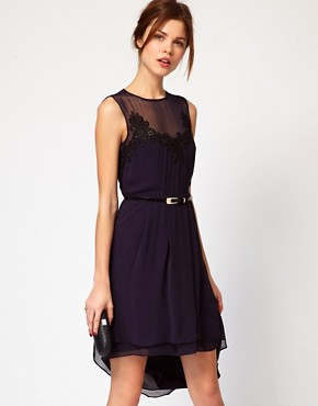 Image 1 ofWarehouse Applique Lace Hi Lo hem Dress