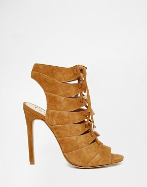 River Island Lace Up Suede Open Heel Sandals