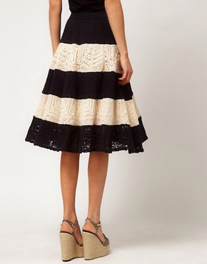 Image 2 ofASOS Full Skirt in Stripe Crochet