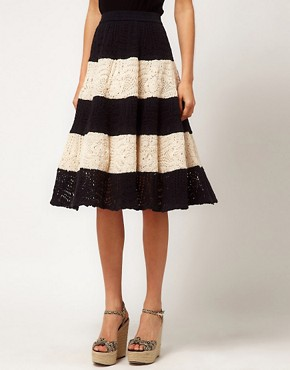 Image 4 ofASOS Full Skirt in Stripe Crochet