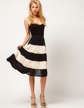 Image 1 ofASOS Full Skirt in Stripe Crochet