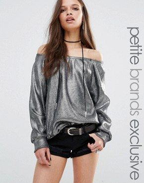 Glamorous Petite Off The Shoulder Jumper In Metallic Knit
