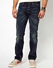 Levis Jeans 501 Straight Fit Selvedge Tattered Blue