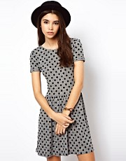ASOS Mini Skater Dress In Flocked Spot