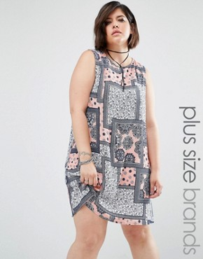 Alice & You Sleeveless Patched Print Shift Dress
