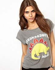 Camiseta con mangas remangadas Steakosaurus de Goodie Two Sleeves