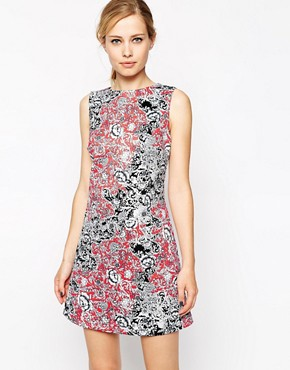 ASOS Shift Dress in Scuba With Paisley Print