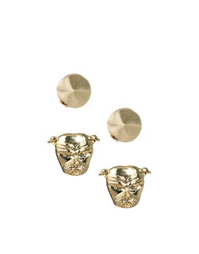 Image 1 ofASOS Pack of Bulldog and Spike Stud Earrings