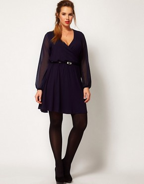 Image 4 ofASOS CURVE Wrap Dress With Chiffon Sleeves